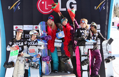 Women's Team SBX podium 2009 LG Snowboarding World Cup in Telluride, Colorado Photo © Oliver Kraus Image may be used for editorial use only.