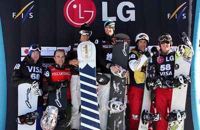 Men's podium 2009 LG Snowboarding World Cup in Telluride, Colorado Photo © Oliver Kraus Image may be used for editorial use only.