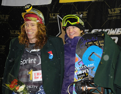 U.S. Champions Shaun White and Kelly Clark wear miner's hats and green jackets after taking the season long title in the Sprint U.S. Snowboarding Grand Prix at Park City Mountain Resort in  Utah. (U.S. Snowboarding/Tom Kelly)