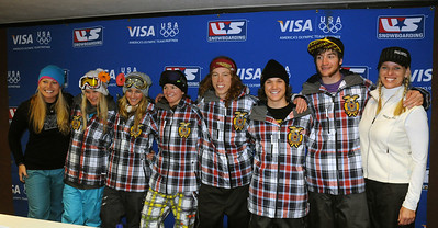 U.S. Snowboarding sponsor Paul Mitchell poses with the Olympic halfpipe athletes after the the Sprint U.S. Snowboarding Grand Prix at Park City Mountain Resort in  Utah. (U.S. Snowboarding/Tom Kelly)