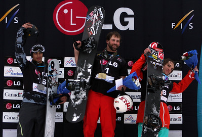 Podium Men, from left to right: 2nd Jonathan Cheever (USA), 1st Nick Baumgartner (USA), 3rd David Speiser (GER) 2011 LG Snowboard FIS World Cup Stoneham February 17, 2011 Photo © Oliver Kraus/FIS Image may be used for editorial use only.