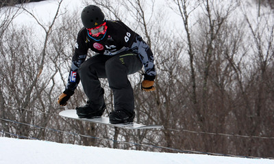 Jonathan Cheever (USA) in qualifier 2011 LG Snowboard FIS World Cup Stoneham February 17, 2011 Photo © Oliver Kraus/FIS Image may be used for editorial use only.