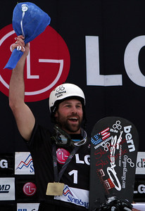 Nick Baumgartner (USA) celebrates his victory 2011 LG Snowboard FIS World Cup Stoneham February 17, 2011 Photo © Oliver Kraus/FIS Image may be used for editorial use only.