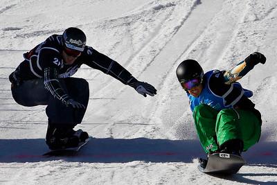 FIS Snowboard world championship 2011, La Molina (SPA), TUE 18 JAN 2011, Men´s Snowboard cross finals.  Australian Alex Pullins is a new  world champion snowboard-cross.  PHOTO: DAVID APARICIO/PAKORAPHOTO. Image may be used for editorial purposes only.