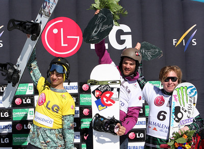 Podium Men, Snowboard Cross, Valmalenco, Italy, from left to right: 2nd Jonathan Cheever (USA), 1st Alberto Schiavon (ITA), 3rd Nate Holland (USA) Image may be used for editorial use only. Photo © Oliver Kraus/ FIS
