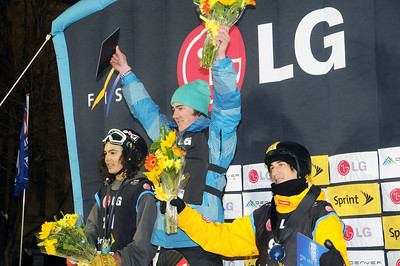 Rocco van Straten (center) celebrates his win along with second place Zac Stone (left) and third place Michael Macho (right) at the Denver Big Air presented by Sprint. January 26, 2011 Photo © Oliver Kraus/FIS Image may be used for editorial purposes only.