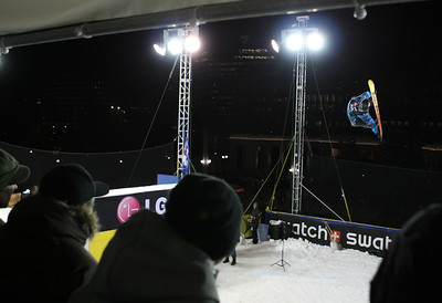 Jake Larue (USA) performing during qualifiers in Denver, CO Denver Big Air presented by Sprint January 26, 2011 Photo © Oliver Kraus/FIS Image may be used for editorial purposes only.