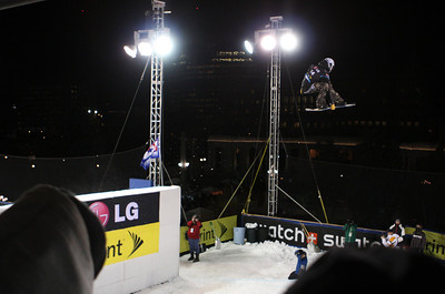 Broc Waring (USA) in qualifiers at Denver Big Air Denver Big Air presented by Sprint January 26, 2011 Photo © Oliver Kraus/FIS Image may be used for editorial purposes only.