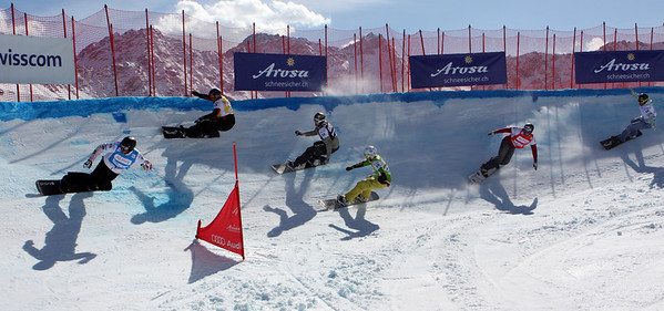 Second snowboard cross race at season's finals in Arosa, Switzerland, Men's Eighth Final #7: Robert Fagan (CAN) in blue, Lluis Marin Tarroch (AND) in yellow, Stian Sivertzen (NOR) in black, Jarod Minghini (USA) in green, Seth Wescott (USA) in red and Matija Mihic (SLO) in white Image may be used for editorial use only. © Oliver Kraus/FIS