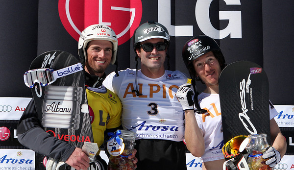 Men's podium after the first snowboard cross finals at the Snowboard World Cup finals 2011 in Arosa, from left to right: 2nd Pierre Vaultier (FRA), 1. Seth Wescott (USA), 3. Paul-Henri De le Rue (FRA) Image may be used for editorial use only. © Oliver Kraus/FIS