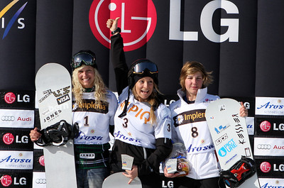 Podium Women of season's last snowboard cross race in Arosa, Switzerland, from left to right: 2nd Lindsey Jacobellis (USA), 1st Alexandra Jekova (BUL), 3rd Nelly Moenne Loccoz (FRA) Image may be used for editorial use only. © Oliver Kraus/FIS