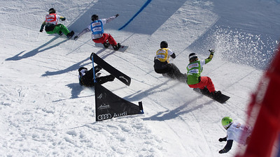 Second snowboard cross race at season's finals in Arosa, Switzerland, Men's Eighth Final #: Alex Pullin (AUS) in red ahead of Alex Tuttle (USA) in blue, Tony Ramoin (FRA) in yellow, Alessandro Haemmerle (AUT) in black, Cameron Bolton (AUS) in green and Felix Arnold (SUI) in white Image may be used for editorial use only. © Oliver Kraus/FIS