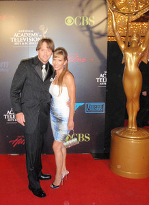 U.S. Snowboarding SBX rider Pat Holland poses on the red carpet with his date Sarah Joy Brown at the Daytime Emmy Awards at the Las Vegas Hilton. Brown was up for a record fourth Emmy for her role in General Hospital.