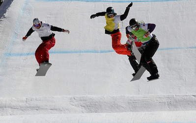 SBX World Cup Valmalenco, ITA - Race 2 - Finals - Heat 8 Men - Michal Novotny (CZE) in white, Jayson Hale (USA) in yellow, Michael Haemmerle (AUT) in green, Jarryd Hughes (AUS) in red  Photo © Oliver Kraus. Photo may be used for editorial use only.