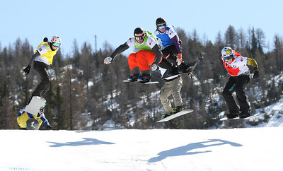 SBX World Cup Valmalenco, ITA - Race 1 - Finals - Heat 3 Men - Jarryd Hughes (AUS) in red, David Speiser (GER) in green, Michael Haemmerle (AUT) in blue, Anton Lindfors (FIN) in yellow, Ruben Arnold (SUI) in black and Michael Perle (USA) in white  Photo © Oliver Kraus. Photo may be used for editorial use only.