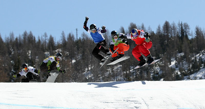 SBX World Cup Valmalenco, ITA - Race 1 - Finals - Heat 1 Men - Alex Pullin (AUS) in red, Jayson Hale (USA) in green, Hanno Douschan (AUT) in blue, Kevin Leahy (USA), in yellow, Paul De le Rue (FRA) in white  Photo © Oliver Kraus. Photo may be used for editorial use only.