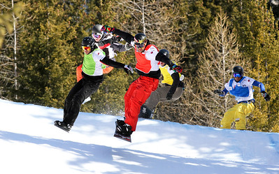 SBX World Cup Valmalenco, ITA - Race 2 - Finals - Heat 11 Men - Nick Baumgartner (USA) in red, Lluis Marin Tarroch (AND) in green, Pat Holland (USA) in black, Joachim Havikhagen (NOR) in yellow, Marvin James (SUI) in blue  Photo © Oliver Kraus. Photo may be used for editorial use only.