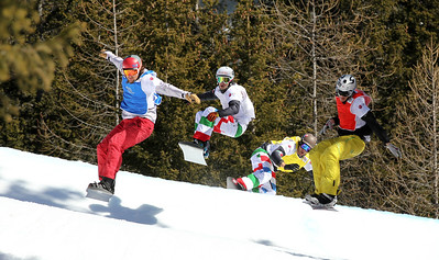 SBX World Cup Valmalenco, ITA - Race 1 - Finals Heat 14 Men - Alex Tuttle (USA) in blue, Stian Sivertzen (NOR) in red, Luca Matteotti (ITA) in white, Alberto Schiavon (ITA) in yellow  Photo © Oliver Kraus. Photo may be used for editorial use only.