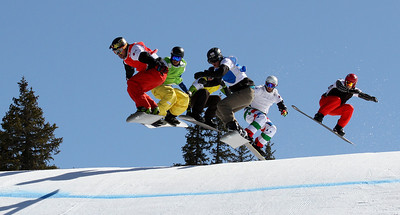 SBX World Cup Valmalenco, ITA - Race 2 - Finals - Heat 5 Men - Nick Baumgartner (USA) in red, Marvin James (SUI) in yellow, Joachim Havikhagen (NOR) in blue, Kevin Leahy (USA) in yellow, Steven Williams (ARG) in black, Michele Godin (ITA) in white  Photo © Oliver Kraus. Photo may be used for editorial use only.
