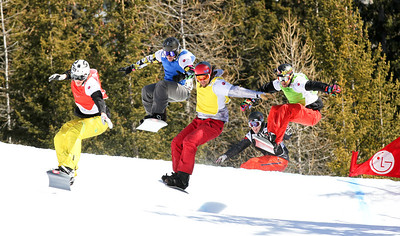 SBX World Cup Valmalenco, ITA - Race 1 - Finals - Heat 12 Men - Stian Sivertzen (NOR) in red, Alex Tuttle (USA) in yellow, Nick Baumgartner (USA) in green, Andrey Boldykov (RUS) in blue, Pat Holland (USA) in black  Photo © Oliver Kraus. Photo may be used for editorial use only.