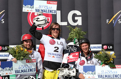 SBX World Cup Valmalenco, ITA - Race 1 - Finals - Podium Men - 2nd Alex Tuttle (USA), 1st Stian Sivertzen (NOR), 3rd Tony Ramoin (FRA)  Photo © Oliver Kraus. Photo may be used for editorial use only.