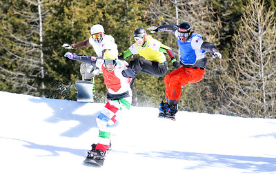 SBX World Cup Valmalenco, ITA - Race 1 - Finals - Heat 10 Men - Emanuel Perathoner (ITA) in red, David Speiser (GER) in blue, Hagen Kearney (USA) in yellow, Michael Perle (USA) in white  Photo © Oliver Kraus. Photo may be used for editorial use only.