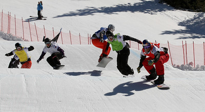 SBX World Cup Valmalenco, ITA - Race 1 - Finals - Heat 9 Men - Alex Pullin (AUS) in red, Tony Ramoin (FRA) in green, Konstantin Schad (GER) in blue, Hanno Douschan (AUT) in white, Jayson Hale (USA) in yellow  Photo © Oliver Kraus. Photo may be used for editorial use only.