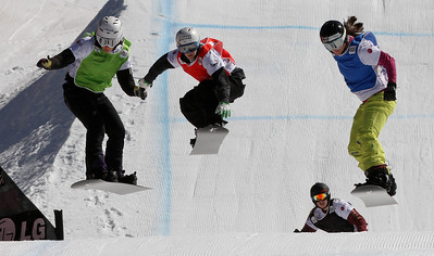SBX World Cup Valmalenco, ITA - Race 1 - Finals - Heat 3 Women - Alexandra Jekova (BUL) in green, Nelly Moenne Loccoz (FRA) in red, Zoe Gillings (GBR) in blue, Jenna Feldman (USA) in black  Photo © Oliver Kraus. Photo may be used for editorial use only.