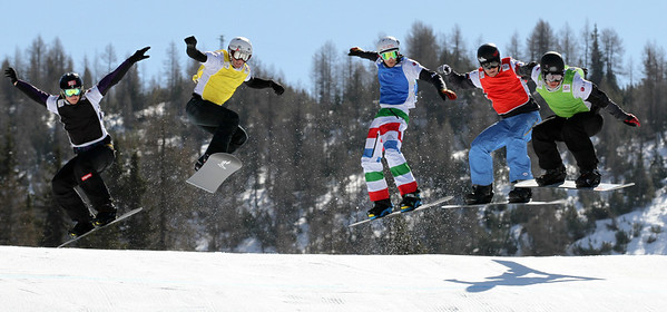 SBX World Cup Valmalenco, ITA - Race 2 - Finals - Heat 3 Men - Tony Ramoin (FRA) in green, Alex Deibold (USA) in red, Luca Matteotti (ITA) in blue, Marceij Jodko (POL) in yellow, Alessandro Haemmerle (AUT) in black  Photo © Oliver Kraus. Photo may be used for editorial use only.