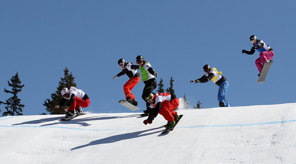 SBX World Cup Valmalenco, ITA - Race 1 - Finals - Heat 7 Men - Nick Baumgartner (USA) in red, Nate Holland (USA) in green, Rok Rogelj (SLO) in blue, Alex Deibold (USA) in yellow, Michal Novotny (CZE) in white, Pat Holland (USA) in black  Photo © Oliver Kraus. Photo may be used for editorial use only.