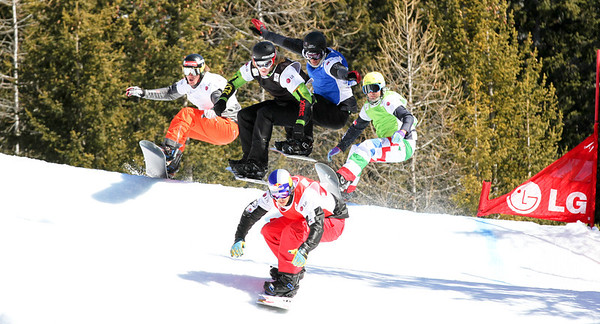 SBX World Cup Valmalenco, ITA - Race 1 - Finals - Heat 13 Men - Alex Pullin (AUS) in red, Haken Kearney (USA) in black, Tony Ramoin (FRA) in blue, David Speiser (GER) in white, Emanuel Perathoner (ITA) in green Photo © Oliver Kraus. Photo may be used for editorial use only.