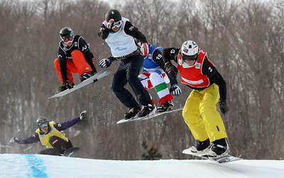 SBX World Cup Stoneham, CAN - Finals - Heat 5 Men - Stian Sivertzen (NOR) in red, Nikolay Olyunin (RUS) in white, Fabio Cordi (ITA) in blue, Jayson Hale (USA) in black, Hanno Douschan (AUT) in yellow Photo: Oliver Kraus/FIS - photo may be used for editorial use only
