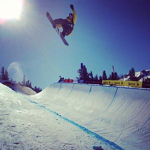 Luke Mitrani going big in the halfpipe during the 2012 Sprint U.S. Snowboarding Grand Prix at Mammoth Mountain. Instagram Photo: Sarah Brunson/U.S. Snowboarding