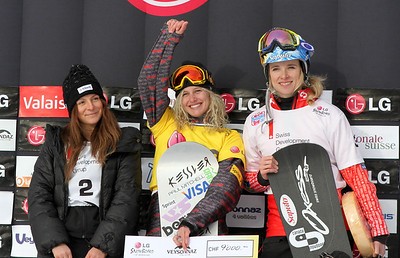 SBX World Cup Veysonnaz - Finals SBX 1 - Podium Women - 2nd Alexandra jekova (BUL), 1st Lindsey Jacobellis (USA), 3rd Dominique Maltais (CAN) Photo: Oliver Kraus/FIS Photo may be used for editorial use only.