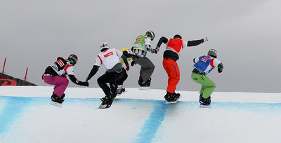 SBX World Cup Veysonnaz - Finals SBX 1 - Eight Final 2 - Men - Graham Watanabe (USA) in blue, Pat Holland (USA) in red, Emil Novak (CZE) in white, Andrey Boldykov (RUS) in green, Tony Ramoin (FRA) in yellow, Rok Rogelj (SLO) in black Photo: Oliver Kraus/FIS Photo may be used for editorial use only.