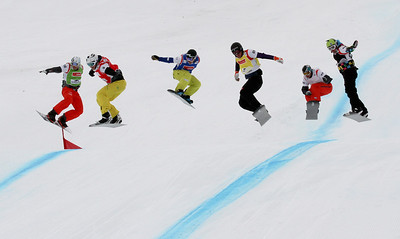 SBX World Cup Veysonnaz - Finals SBX 1 - Eight Final 3 - Men - Konstantin Schad (GER) in green, Stian Sivertzen (NOR) in red, Fabio Caduff (SUI) in blue, Michael Haemmerle (AUT) in yellow, Jayson Hale (USA) in white, Nikolay Olyunin (RUS) in black Photo: Oliver Kraus/FIS Photo may be used for editorial use only.