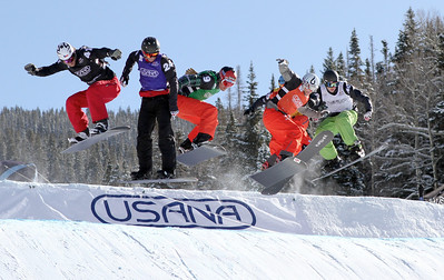 Michal Novotny (CZE) black, Luis Marin Tarroch (AND) blue, Seth Wescott (USA) green, Konstantin Schad (GER) red, Pat Holland (USA) white, Graham Watanabe (USA) yellow (hidden) 2011 USANA Team Snowboardcross Cup at Telluride  Snowboardcross finals Photo: Oliver Kraus/FIS Image may be used for editorial purposes only.