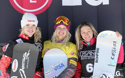 Podium Ladies - 2nd Dominique Maltais (CAN), 1st Lindsey Jacobellis (USA), 3rd Deborah Anthonioz (FRA) 2011 USANA Team Snowboardcross Cup at Telluride  Photo: Oliver Kraus/FIS Image may be used for editorial purposes only.