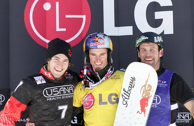 Podium Men - 2nd Christopher Robanske (CAN), 1st Pierre Vaultier (FRA), 3rd Nick Baumgartner (USA) 2011 USANA Team Snowboardcross Cup at Telluride  Photo: Oliver Kraus/FIS Image may be used for editorial purposes only.