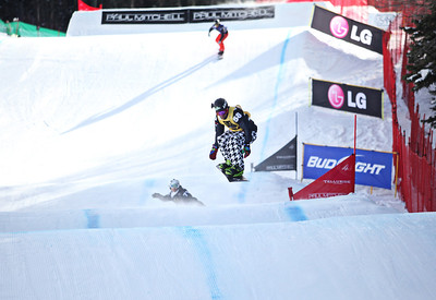 Nick Baumgartner (yellow) 2011 USANA Team Snowboardcross Cup at Telluride  Photo: Sarah Brunson/U.S. Snowboarding