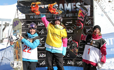 Women's podium, from left to right: 2nd Sophie Rodriguez (FRA), 1st Kelly Clark (USA), 3rd Queralt Castellet (ESP) 2012 FIS Halfpipe Snowboarding World Cup - Cadrona, New Zealand Photo © Oliver Kraus/FIS Photo may be used for editorial use only