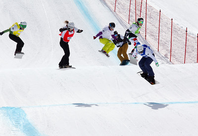2013 FIS World Cup Snowboard - Snowboard Cross - Veysonnaz, SUI March 16. photo: Mike Weyerhaeuser. Ladies' Semi-Final #2. Nelly Moenne-Loccoz (FRA-blue), Rafaella Brutto (ITA-grn), Alexandra Jekova (BUL-red), Simona Meiler (SUI-wht), Isabel Clark-Ribeiro (BRA-yel), Cynthia Chythlook-Sifsof (USA-blk). Photo © FIS/Mike Weyerhaeuser Photo may be used for editorial purposes only