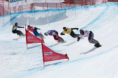 2013 FIS World Cup Snowboard - Snowboard Cross - Veysonnaz, SUI March 16. photo: Mike Weyerhaeuser. Men's Small Final. (Right to Left): Nick Baumgartner (USA-white), Jonathan Cheever (USA-yellow), Michal Novotny (CZE-blu), Alex Tuttle (USA-red), Seth Wescott (USA-grn). Photo © FIS/Mike Weyerhaeuser Photo may be used for editorial purposes only
