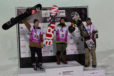Men's podium: Louri Podladtchikov (SUI), Taku Hiraoka (JPN) and Scott Lago (USA) Halfpipe snowboarding Olympic Test Event, Sochi, Russia February 2013 Photo: Mark Epstein/U.S. Snowboarding
