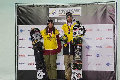Kelly Clark and Scotty Lago Halfpipe snowboarding Olympic Test Event, Sochi, Russia February 2013 Photo: Mark Epstein/U.S. Snowboarding