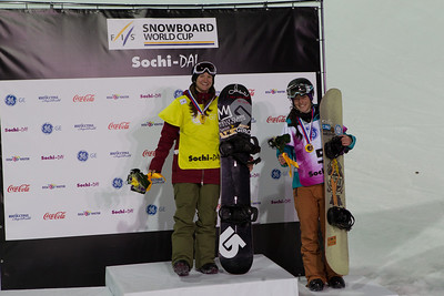 Kelly Clark (USA) (first place) and Sophie Rodriguez (FRA) (3rd place) Halfpipe snowboarding Olympic Test Event, Sochi, Russia February 2013 Photo: Mark Epstein/U.S. Snowboarding