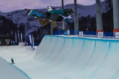 Kaitlyn Farrington Halfpipe snowboarding Olympic Test Event, Sochi, Russia February 2013 Photo: Mark Epstein/U.S. Snowboarding