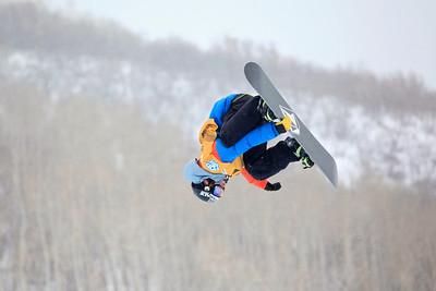 Luke Mitrani Halfpipe qualifications 2013 Sprint U.S. Snowboarding Grand Prix in Park City, Utah Photo: Sarah Brunson/U.S. Snowboarding