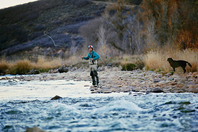 Jayson Hale fly fishing on the Provo River. Photo: Sarah Brunson/U.S. Snowboarding