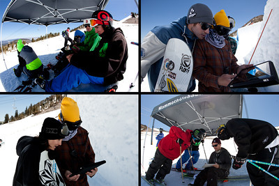 Athletes getting some on-hill video review with their coaches. (Mammoth Mountain : Peter Morning)